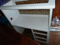 Solid Wood Single Loft Bed with Desk, Shelves and Drawers Underneath, Ladder Included, Painted White