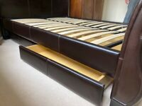"""Sleigh bed base 4' 6"""" with drawers"""