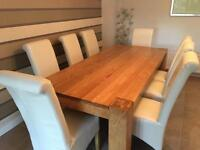 Solid Oak Dining Room Table 8 Seat