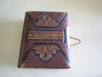 Antique leather embossed photo album