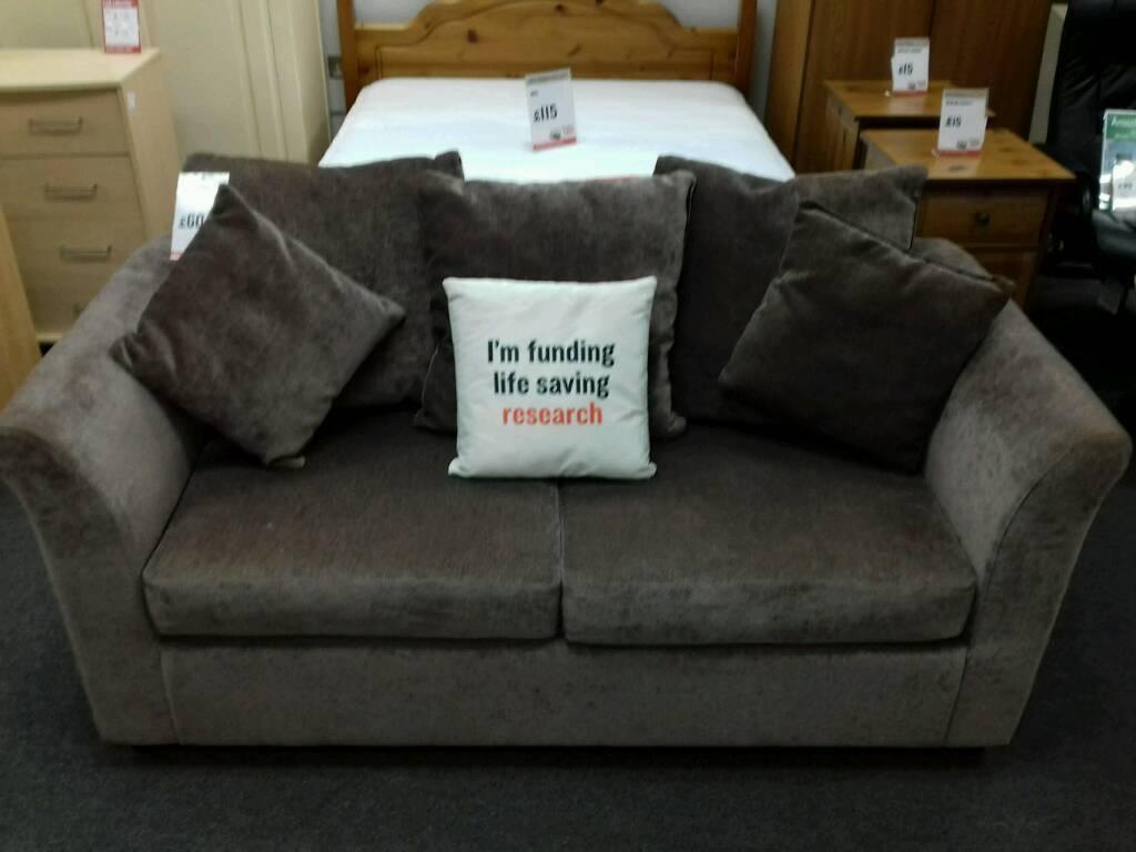 2 Seater Sofa Bed Upholstered In Mushroom Fabric British Heart Foundation Sco39426
