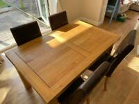 Solid Oak dining table seats 6-8