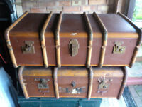 TWO ORIGINAL, VINTAGE, OCEAN STEAMER TRAVEL TRUNKS
