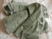 4 CHRISTY BATH TOWELS IN LIGHT SAGE GREEN - UNUSED