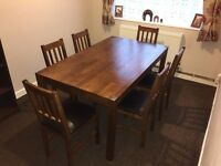 Dark Solid Oak Dining Room Table with 6 Chairs