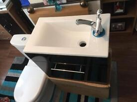 Wall hung vanity unit n sink gloss black no tap £60 or 85 with tap