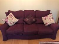 Plum 3+1+1 sofa and matching cushions, curtains and mat