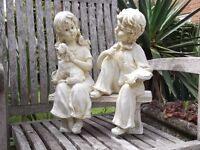 Boy & Girl - Sitting on Bench - Garden Feature.