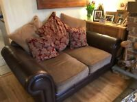 2 seater and 3 seater leather fabric sofas for sale. Good condition