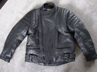 """JTS BLACK LEATHER MOTORCYCLE JACKET IN 46""""(XL)"""