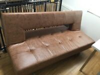 Pisa Sofa Bed Faux Leather Tan