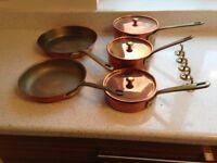 3 x Copper Pans + 2 Copper Frying pans
