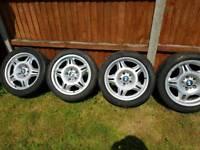 bmw e36 alloys new paint 6 good tires