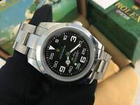 New Swiss Men's Rolex Oyster Air King Perpetual Automatic Watch, Black Dial