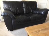 BLACK LEATHER SOFAS 2 & 3 SEATERS