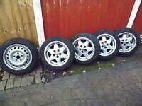 vw transporter t4 wheels, nearly new tyres (all same brand) including new tyred spare