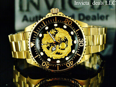 New Invicta Men's 47mm Grand Diver DRAGON AUTOMATIC 18K Gold Plated SS Watch