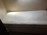 Single bed and mattress 6'6