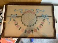 Embroidery picture in frame