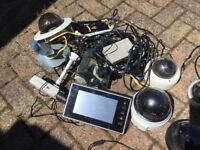 Job lot of used CCTV dome cameras, normal cameras and monitor.