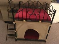 Fancy ornate metal chic cat bed bunk bed red and cream