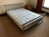 Double bed frame, silver metallic finish