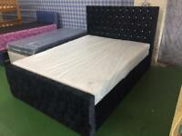Crush Velvet Black KING sized bed
