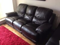Recliner Leather Sofa 3 Seater, 3 drawers, lamp and rug