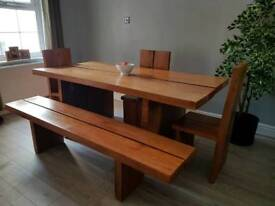 Stunning table, bench and 3 chairs