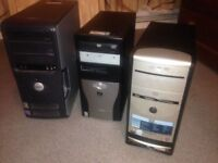 3 Desktop Computers were running windows XP - Hard drives are removed fully working £20 each