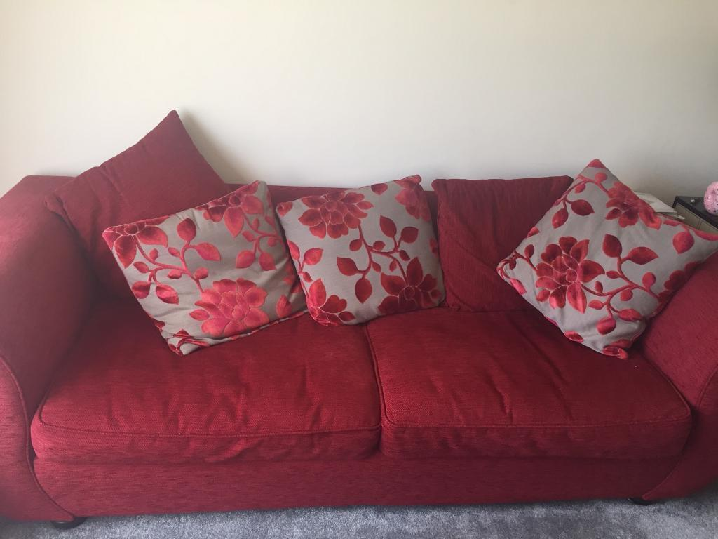 2 Piece Red Sofa With Cushions