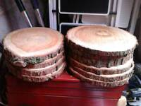 10 rustic log slices