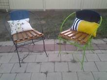 set of 2 funky unique outdoor chairs timber metal and denim Penrith Penrith Area Preview