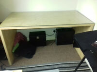 Large Ikea desk with seperate safety glass top
