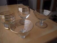 various matching glassware circa 1950's/1960/s with gold leaf decoration
