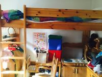 Single flexible high/mid/low solid wood loft bed with shelves - needs to go this weekend!