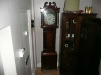 Antique Grandfather Clock, Oak & Mahogany, Very Rare Made For The Oddfellows Lodge