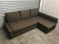 FREE DELIVERY IKEA FRIHETEN BROWN CORNER SOFA BED WITH STORAGE GOOD CONDITION