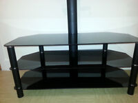 Universal glass TV stand with brackets for TV up to 65 Inches