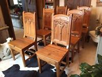 Hand carved solid reclaimed pine Gothic arch chairs x6. Keenpine