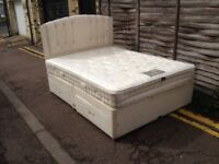 Divan king size bed with mattress and headboard