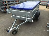 BRAND NEW CAR BOX TRAILER FARO PONDUS with double side and flat cover