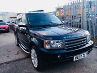 "LAND ROVER RANGE ROVER SPORT DIESEL AUTOMATIC 2.7 TDV6 HSE BLACK 20"" ALLOYS LEATHER SATNAV DVD 2007"