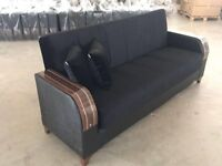Brand New Turkish 3 Seater Fabric Sofa Beds, Storage + Sleek Wooden Leatherette Arms sofabed