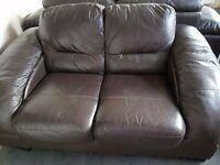 Contemporary styled brown leather 2 & 3 seater