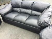 Black leather 3-1-1 full leather sofas suite ~ can deliver