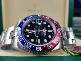 Rolex GMT Master, Silver Pepsi with black face. Complete with Box & Paperwork. £140