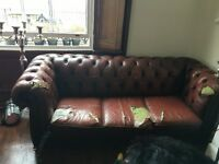 FREE Chesterfield Sofa - ripped seats and much of the leather!