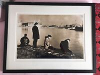 Framed Black and White Sepia toned Portrait of U2 in 1989 signed by photographer Jane Bown