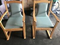 Green & Beech Fabric Chairs
